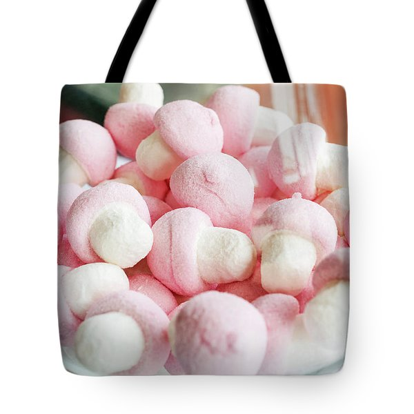 Pink And White Marshmallows In Bowl Tote Bag