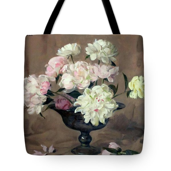 Pink And White Peonies In Footed Silver Bowl Tote Bag