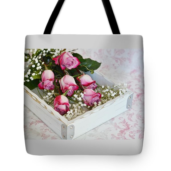 Pink And White Roses In White Box Tote Bag