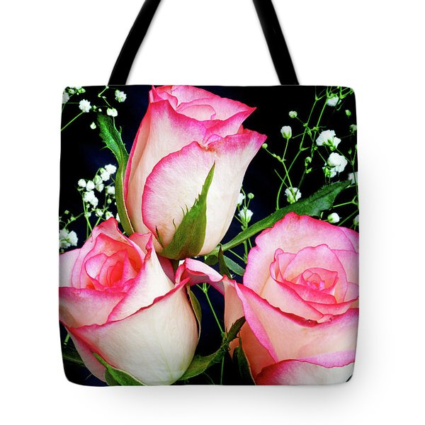Pink And White Roses Tote Bag
