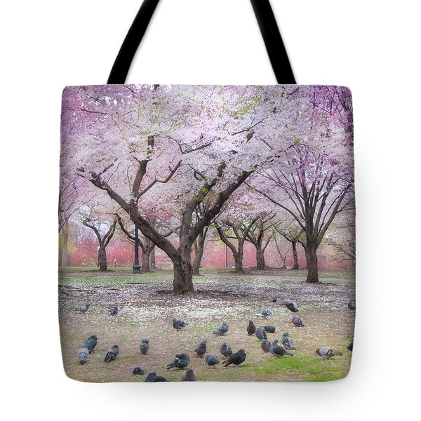Tote Bag featuring the photograph Pink And White Spring Blossoms - Boston Common by Joann Vitali
