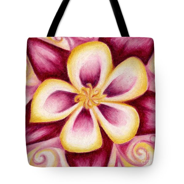 Pink And Yellow Columbine Flower Drawing Tote Bag