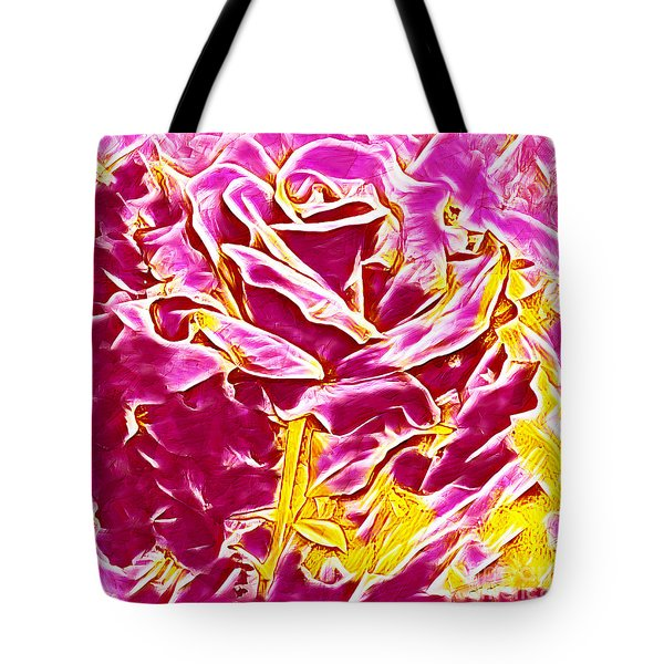 Pink And Yellow Rose Tote Bag