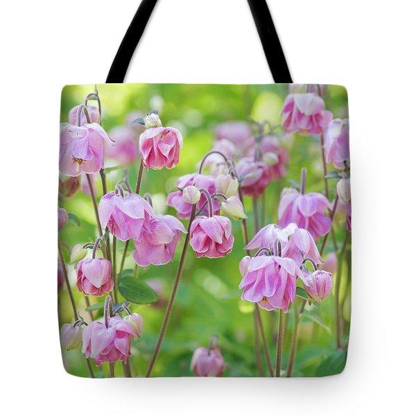 Pink Aquilegia Flowers Tote Bag