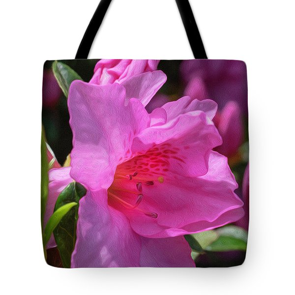 Tote Bag featuring the digital art Pink Azalea by Keith Smith