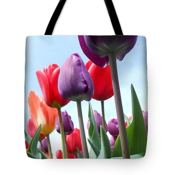 Pink Baby In Tulip Garden Tote Bag