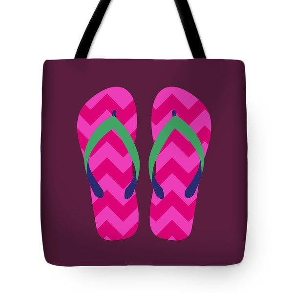 Tote Bag featuring the digital art Pink Beach Sandals by Jennifer Hotai