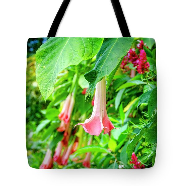 Pink Bell Flowers Tote Bag