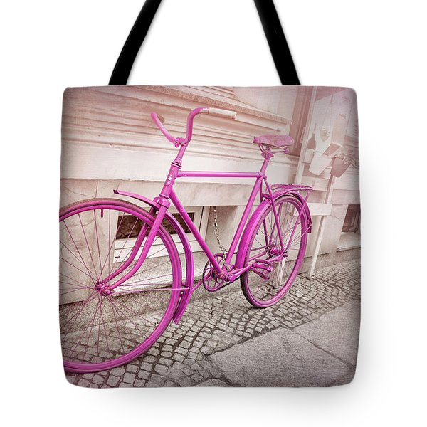 Pink Bicycle In Wroclaw Poland Old Town  Tote Bag