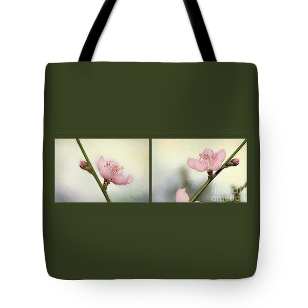 Tote Bag featuring the photograph Pink Blossom Collage By Kaye Menner by Kaye Menner