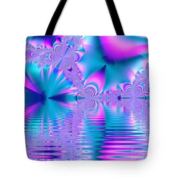Pink, Blue And Turquoise Fractal Lake Tote Bag