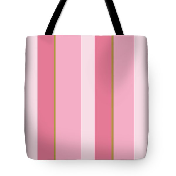 Tote Bag featuring the mixed media Pink Blush Stripe Pattern by Christina Rollo