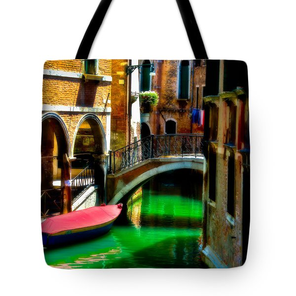 Pink Boat And Canal Tote Bag
