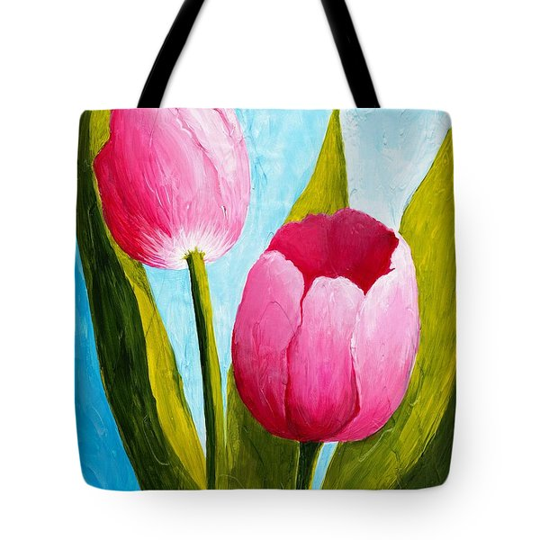 Tote Bag featuring the painting Pink Bubblegum Tulip II by Phyllis Howard