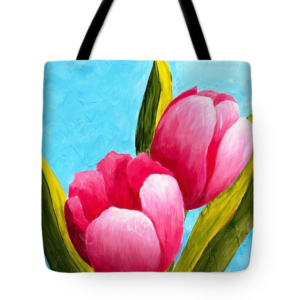 Tote Bag featuring the painting Pink Bubblegum Tulips I by Phyllis Howard