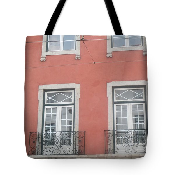 Pink Building In Lisbon Tote Bag