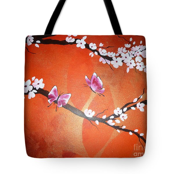 Pink Butterflies And Cherry Blossom Tote Bag