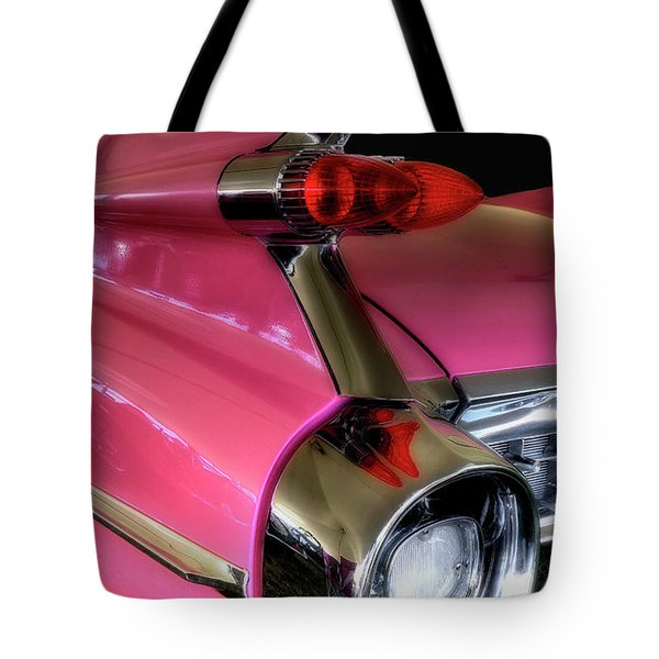 Tote Bag featuring the photograph Pink Cadillac Blackout by Trey Foerster