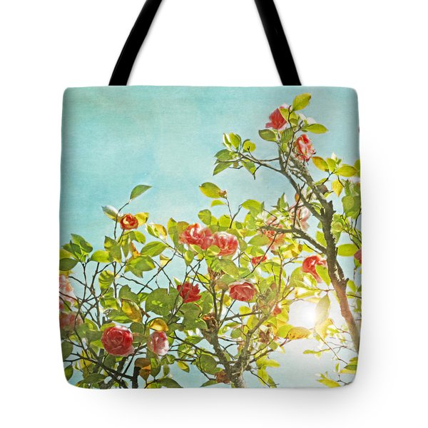 Pink Camellia Japonica Blossoms And Sun In Blue Sky Tote Bag