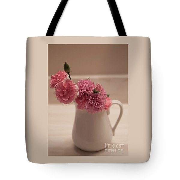 Pink Carnations Tote Bag by Sherry Hallemeier
