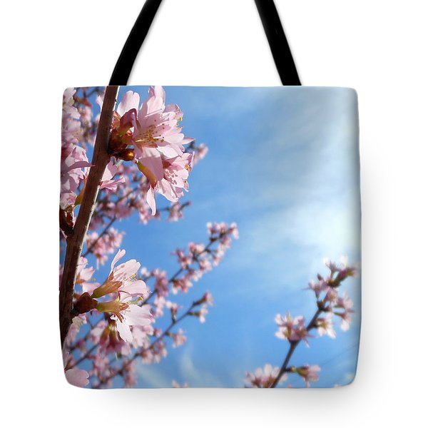 Pink Cherry Blossoms Branching Up To The Sky Tote Bag