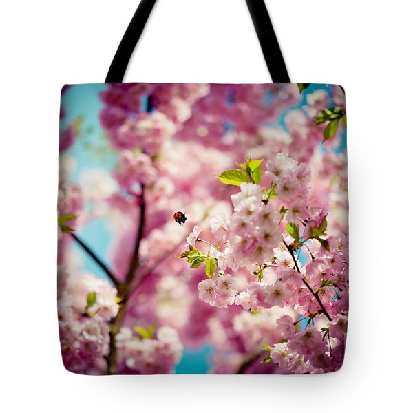 Pink Cherry Blossoms Sakura With Bee Tote Bag