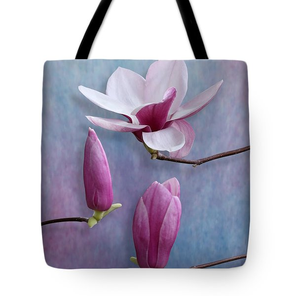 Pink Chinese Magnolia Flower With Two Buds Tote Bag
