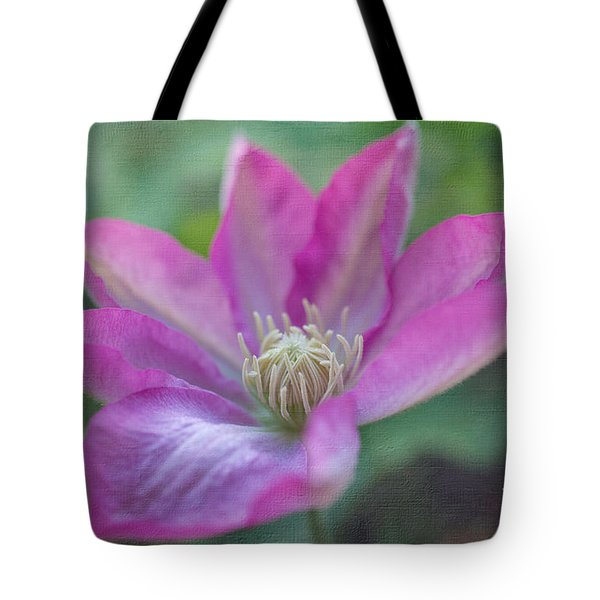 Pink Clematis #2 Tote Bag by Laurinda Bowling