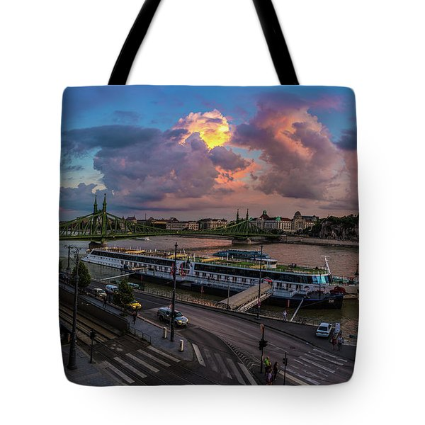 Pink Clouds Above The Danube, Budapest Tote Bag