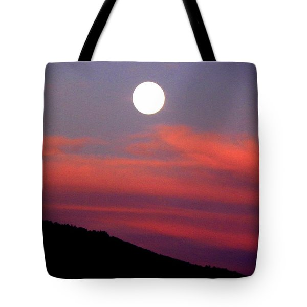 Tote Bag featuring the photograph Pink Clouds With Moon by Joseph Frank Baraba