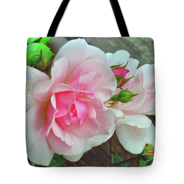 Tote Bag featuring the photograph Pink Cluster Of Roses by Janette Boyd