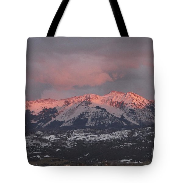 Pink Colorado Rocky Mountain Sunset Tote Bag
