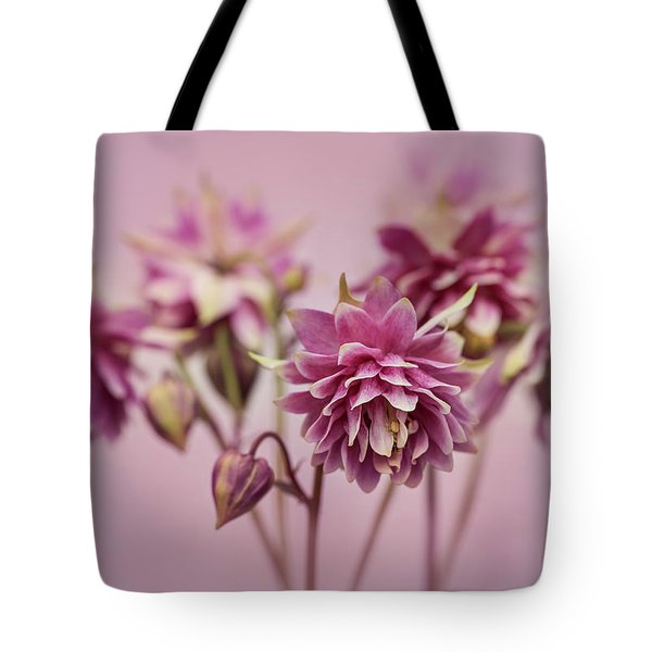 Tote Bag featuring the photograph Pink Columbines by Jaroslaw Blaminsky