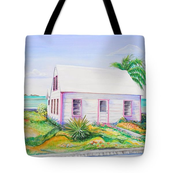 Tote Bag featuring the painting Pink Cottage by Patricia Piffath