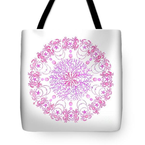 Pink Crab Mandala Tote Bag