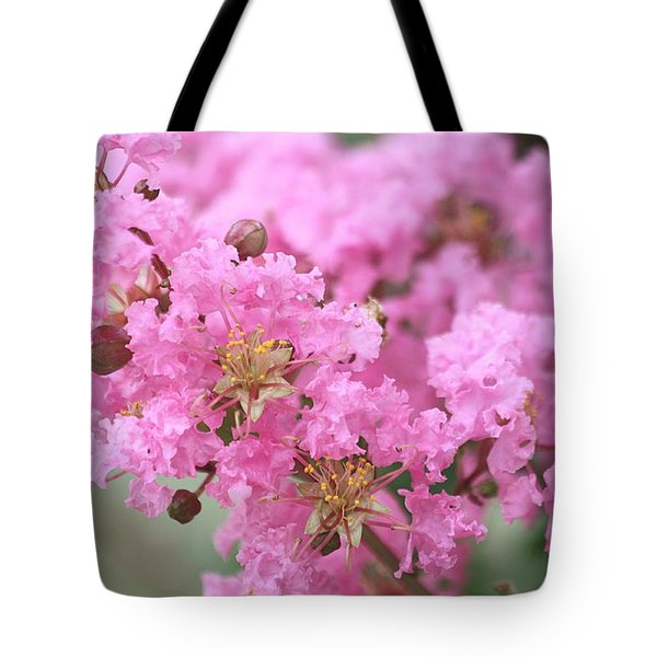 Tote Bag featuring the photograph Pink Crepe Myrtle Close-up by Sheila Brown