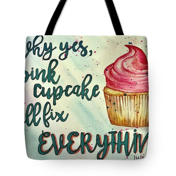 Tote Bag featuring the painting Pink Cupcake by Diane Fujimoto
