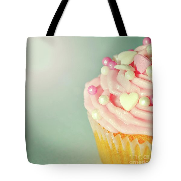 Tote Bag featuring the photograph Pink Cupcake With Lovehearts by Lyn Randle