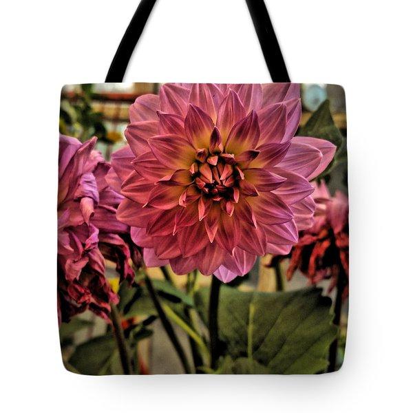Pink Dahlias Tote Bag by Bonnie Bruno