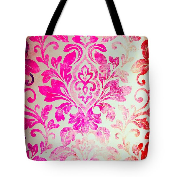 Pink Damask Pattern Tote Bag