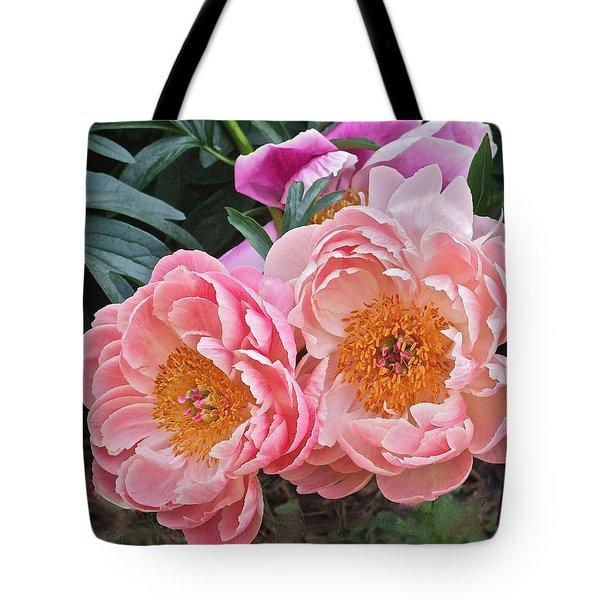 Pink Duo Peony Tote Bag
