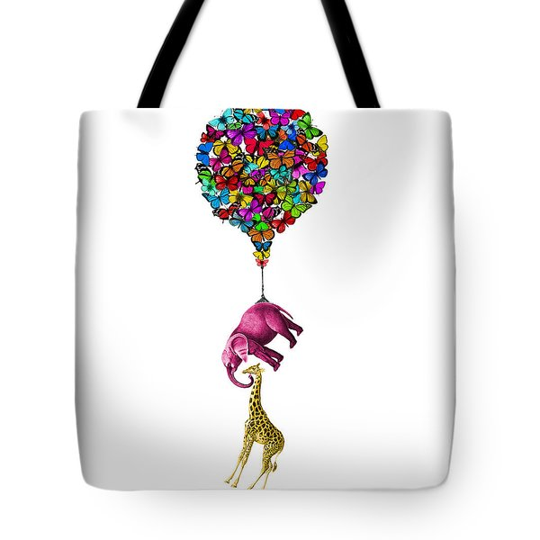 Pink Elephant And Giraffe Hanging From A Butterfly Balloon Tote Bag