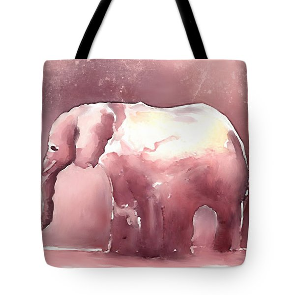 Pink Elephant Tote Bag by Arline Wagner