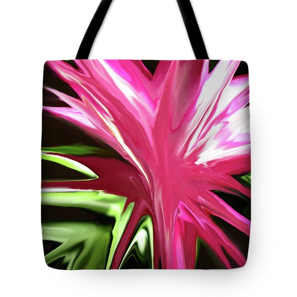 Tote Bag featuring the digital art Pink Explosion by Mary Bedy
