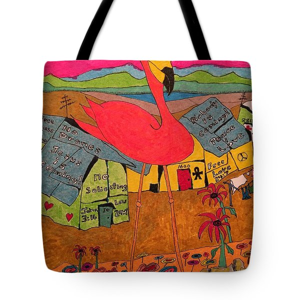 Pink Flamingo Camp Tote Bag