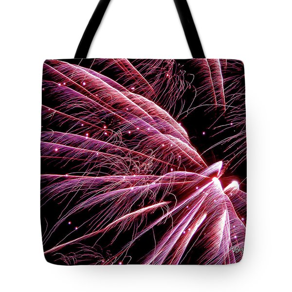 Tote Bag featuring the photograph Pink Flamingo Fireworks #0710 by Barbara Tristan