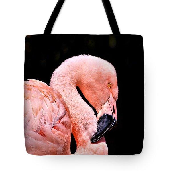 Pink Flamingo On Black Tote Bag