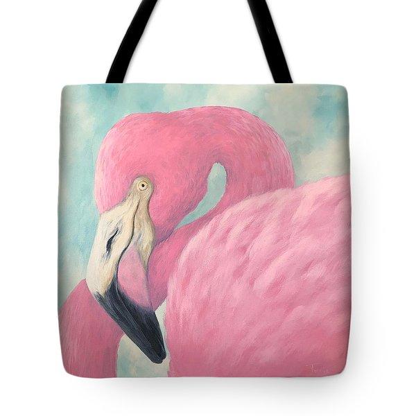 Pink Flamingo V Tote Bag