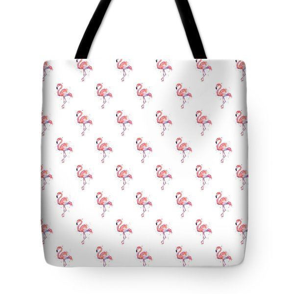 Pink Flamingo Watercolor Pattern Tote Bag