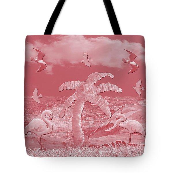 Pink Flamingo's Palms Tote Bag